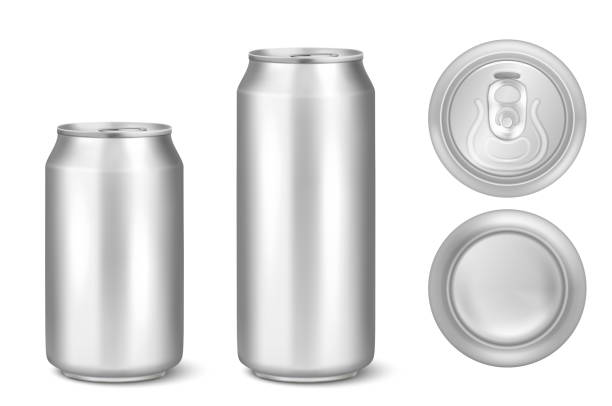 ilustrações de stock, clip art, desenhos animados e ícones de vector realistic 3d silver empty glossy metal black aluminium beer pack or can visual 330ml 500ml. can be used for lager, alcohol, soft drink, soda, fizzy pop, lemonade, cola, energy drink, juice, water etc. icon set closeup isolated onwhite background - latão