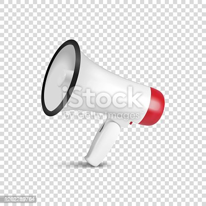 Vector Realistic 3d Simple White Megaphone Icon Closeup Isolated on Transparent Background. Design Template for Banner, Web.