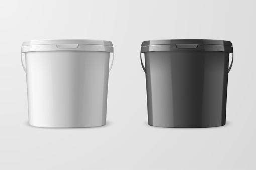 Vector Realistic 3d White and Black Plastic Bucket for Food Products, Paint, Foodstuff, Adhesives, Primers, Putty Isolated on White Background. Design Template of Packagin for Mockup. Front view