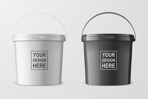 Vector Realistic 3d White and Black Plastic Bucket Set for Food Products, Paint, Foodstuff, Adhesives, Primers, Putty Closeup Isolated on White. Design Template of Packagin for Mockup. Front View