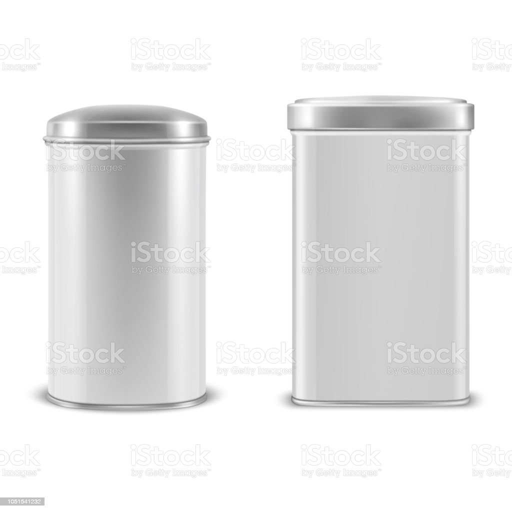vector realistic 3d white blank metal aluminium tin can containers
