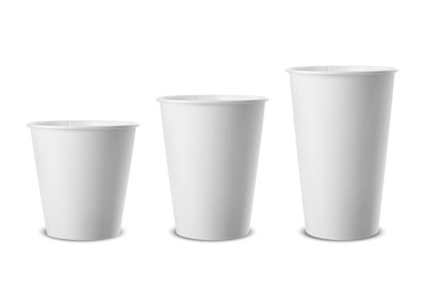 vector realistic 3d white paper disposable cup icon set closeup isolated on white background. different size - small, medium and large. design template for graphics, mockup. front view - espresso stock illustrations