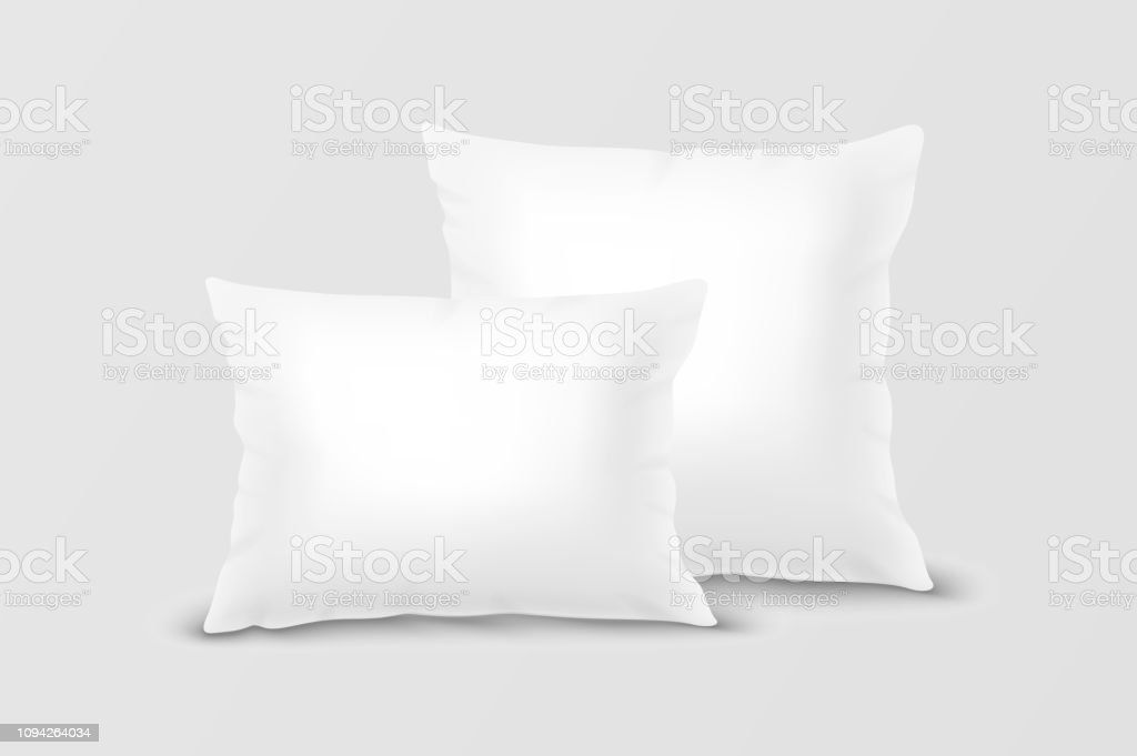 Vector Realistic 3d White Pillow Set Closeup Isolated On White Background Elements Of Bedroom Home Hotel Decor Design Template Of Square And Rectangular Pillows For Graphics And Mockup Front View Stock Illustration