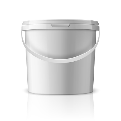 Vector Realistic 3d White Plastic Bucket for Food Products, Paint, Foodstuff, Adhesives, Sealants, Primers, Putty Isolated on White Background. Design Template of Packagin for Mockup. Front view