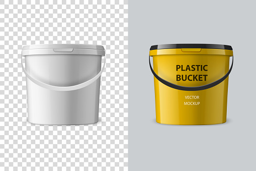 Vector Realistic 3d White Plastic Bucket for Food Products, Paint, Foodstuff, Adhesives, Primers, Putty Isolated. Design Template of Packagin for Mockup. Front view