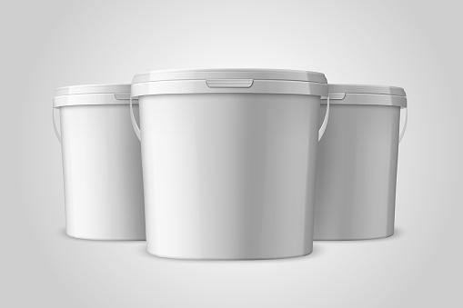Vector Realistic 3d White Plastic Bucket Set for Food Products, Paint, Foodstuff, Adhesives, Primers, Putty Closeup Isolated on White Background. Design Template of Packagin for Mockup. Front View