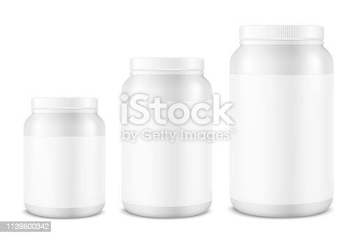 Vector realista 3D blanco frasco de plástico, puede con tapa conjunto de cierre aislado sobre fondo blanco. Plantilla de diseño de proteína de suero de leche, polvo deportivo, vitaminas, BCAA, píldoras, gorras para Mockup. Vista frontal
