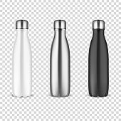 Vector Realistic 3d White, Silver and Black Empty Glossy Metal Reusable Water Bottle with Silver Bung Set Closeup on Transparency Grid Background. Design template of Packaging Mockup. Front View.