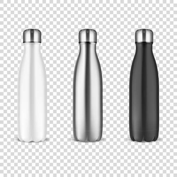 Vector Realistic 3d White, Silver and Black Empty Glossy Metal Reusable Water Bottle with Silver Bung Set Closeup on Transparency Grid Background. Design template of Packaging Mockup. Front View Vector Realistic 3d White, Silver and Black Empty Glossy Metal Reusable Water Bottle with Silver Bung Set Closeup on Transparency Grid Background. Design template of Packaging Mockup. Front View. bottle stock illustrations
