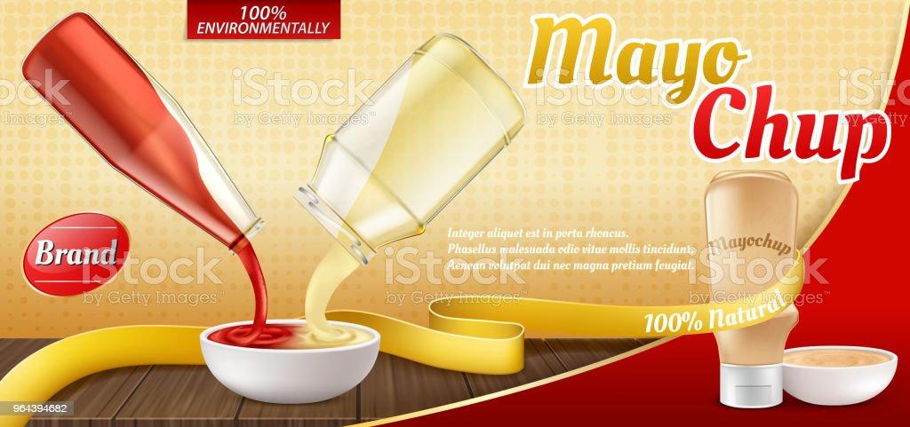 Cartaz de anúncio realista vector - mayochup molho de cozimento - Vetor de Antepasto royalty-free