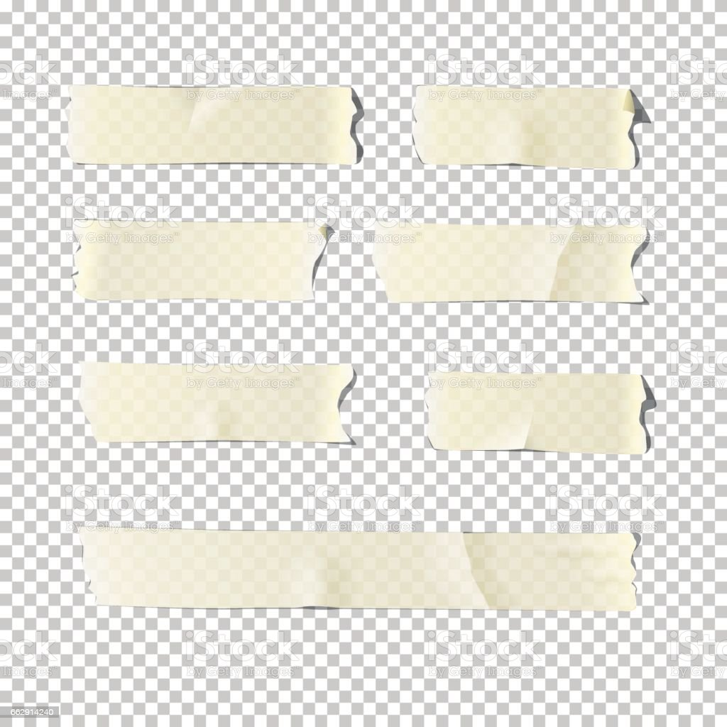 Vector  realistic adhesive tape set  isolated on transparent background. vector art illustration