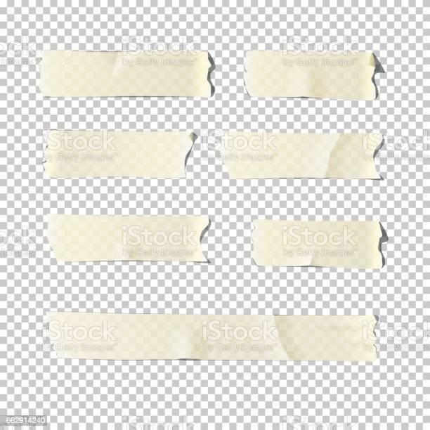 Vector Realistic Adhesive Tape Set Isolated On Transparent Background - Arte vetorial de stock e mais imagens de Antigo