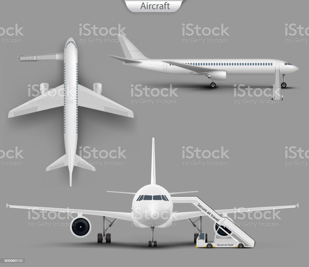 Vector realistic aircraft, airplane mockup set vector art illustration