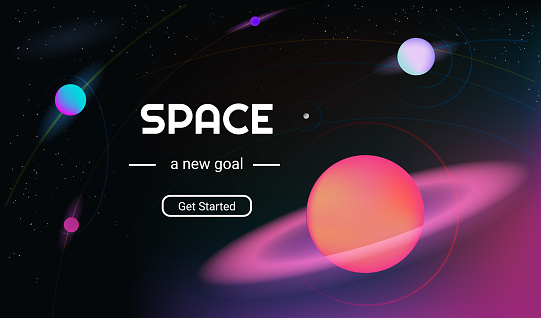 Vector realistic and futuristic space background with bright light planets and stars.