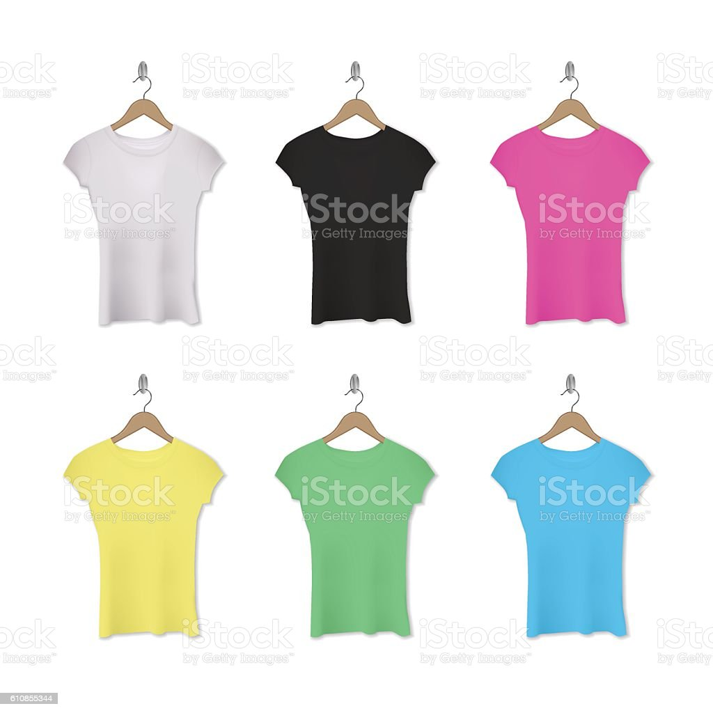 Vector realistic assorted woman t-shirts on hangers. vector art illustration