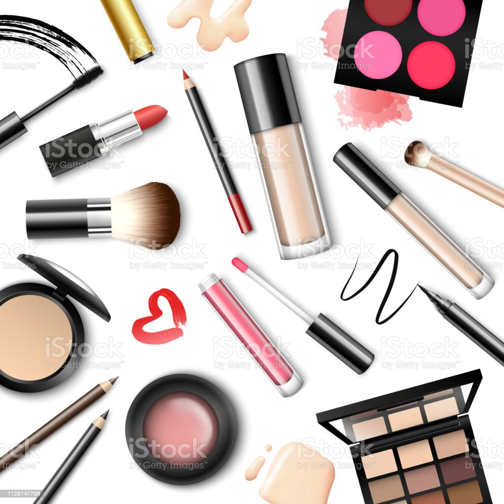Vector realistic background with make-up accessories isolated on white background - Illustration .