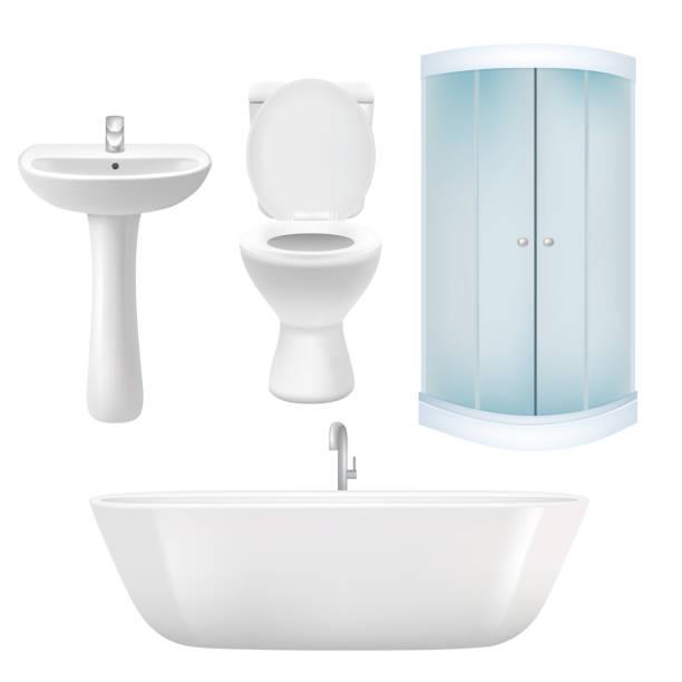 Vector realistic bathroom icon set Vector bathroom icon set. Realistic illustration of bathtub, corner shower cabin, washbasin, toilet. bathroom silhouettes stock illustrations