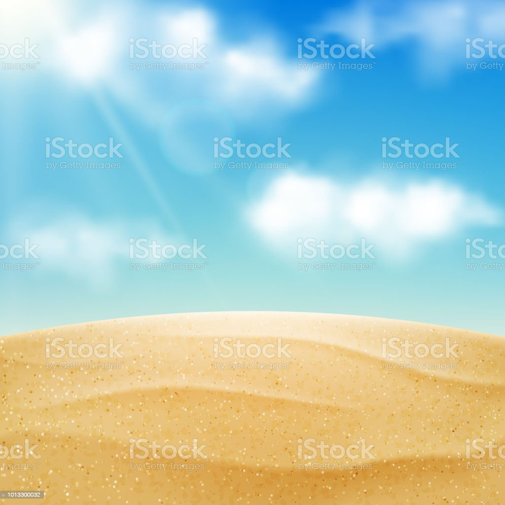 Vector realistic beach landscape. Yellow sand desert and blue sky with clouds. Summer vacation background royalty-free vector realistic beach landscape yellow sand desert and blue sky with clouds summer vacation background stock illustration - download image now