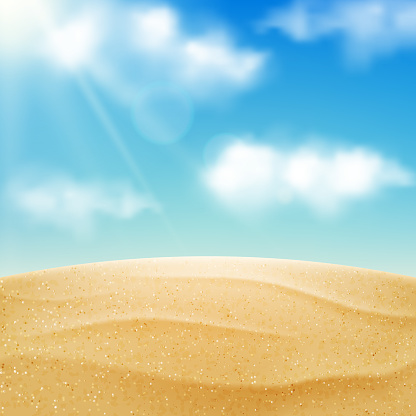 Vector realistic beach landscape. Yellow sand desert and blue sky with clouds. Summer vacation background clipart