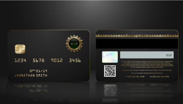 illustrazioni stock, clip art, cartoni animati e icone di tendenza di vector realistic black credit card with abstract geometric background. golden element credit card dark design template. bank presentation with hologram, qr-code and magnetic strip. - credit card