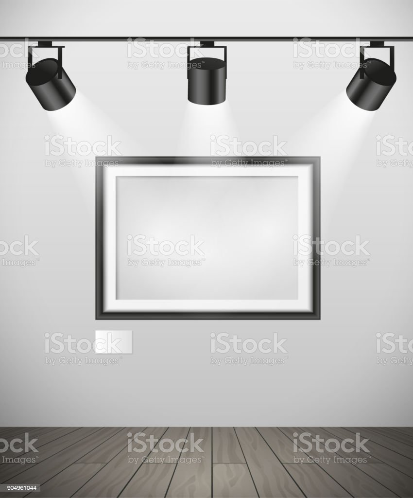 Vector Realistic Black Empty Picture Frame Hanging In Gallery With ...