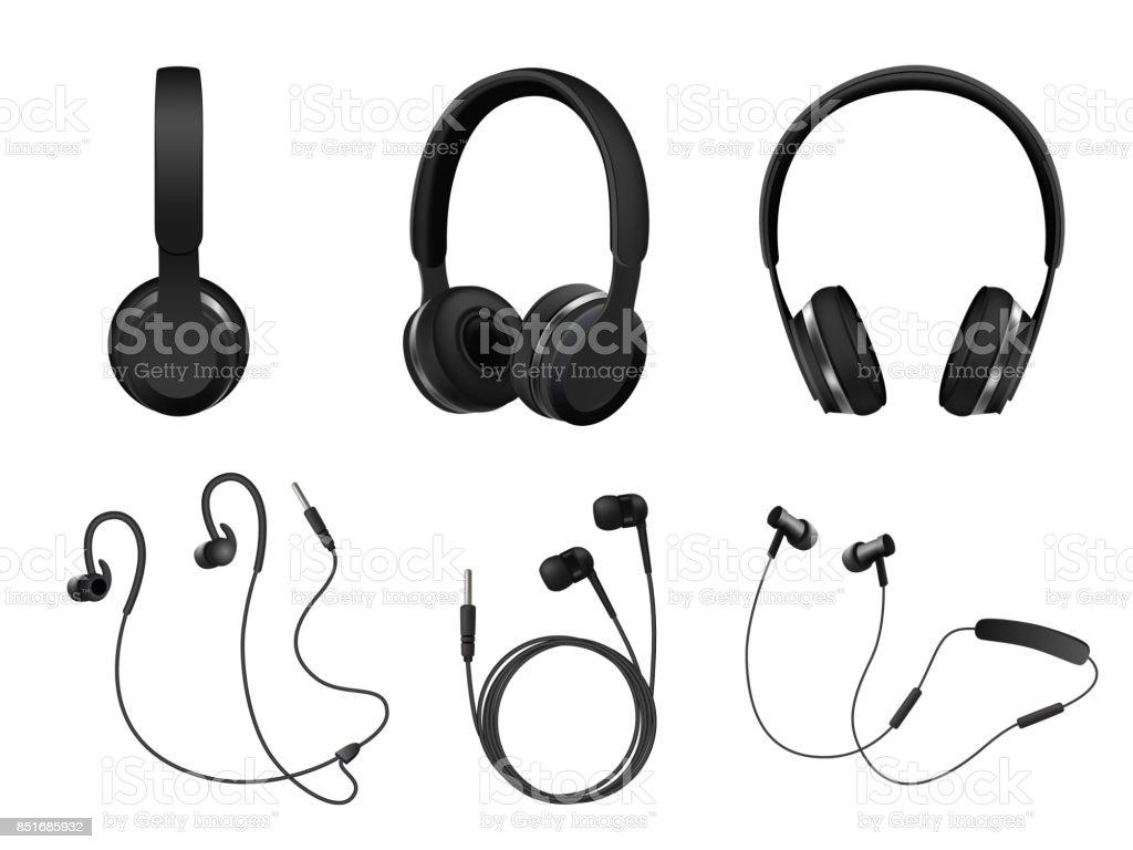 Vector realistiska svarta hörlurar Ikonuppsättning - Royaltyfri Audioutrustning vektorgrafik