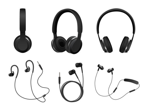 Vector realistic black headphone icon set Vector set of wireless and corded headphones, earphones. Realistic black headphones music accessories isolated on white background. bluetooth stock illustrations