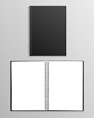 Vector realistic black notebook open and closed isolated on grey background