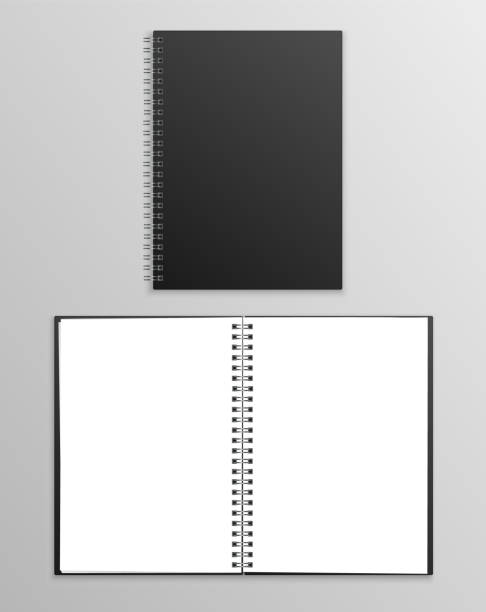 vector realistic black notebook open and closed isolated on grey background - composition notebook cover stock illustrations, clip art, cartoons, & icons