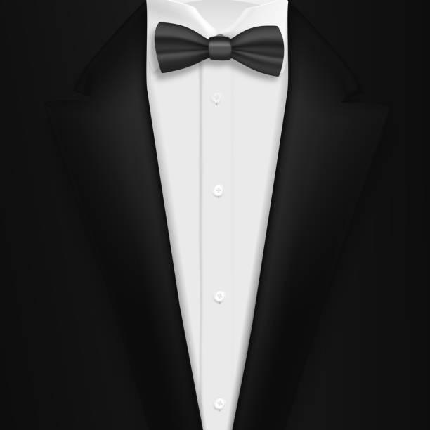 ilustrações de stock, clip art, desenhos animados e ícones de vector realistic black suit. photorealistic 3d mens elegant tuxedo suit with bow tie - smoking