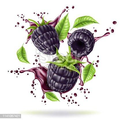 Realistic blackberry juice splash with green leaves motion. Juicy bramble, black fruit explosion. Fresh blackberry juice swirl flow. Ripe forest berry for drink package vector design.