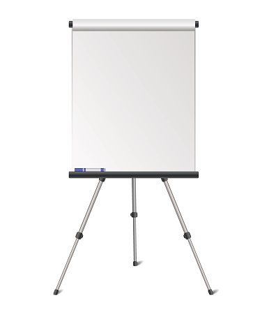 Vector realistic blank flipchart isolated on white background
