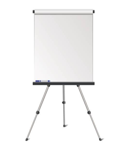 vektor realistische leer flipchart isoliert auf weißem hintergrund - flipchart stock-grafiken, -clipart, -cartoons und -symbole
