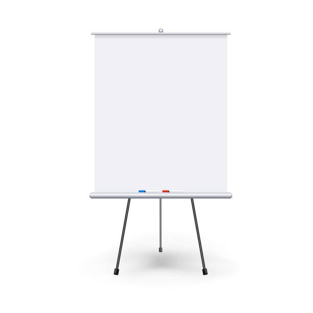 vektor realistische leer flipchart mit drei beinen isoliert auf weißem hintergrund sauber. weiße roll-up banner für präsentation, firmenschulungen und briefing. vektor-modell. - flipchart stock-grafiken, -clipart, -cartoons und -symbole