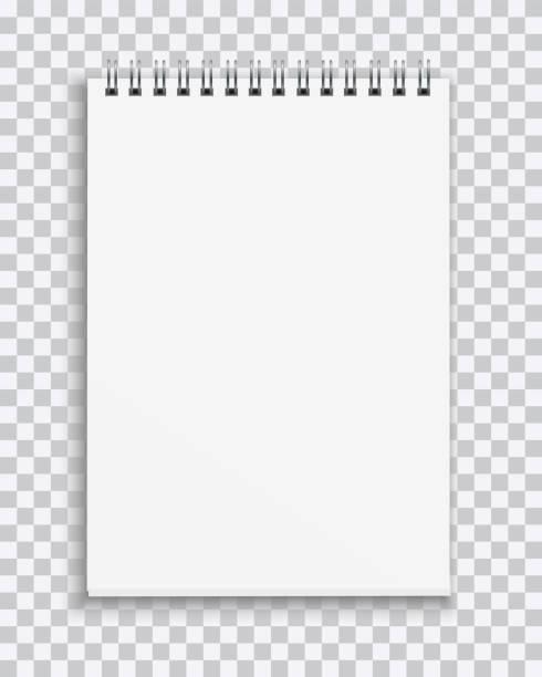 wektor realistyczny pusty notebook izolowany na przezroczystym tle - notes stock illustrations