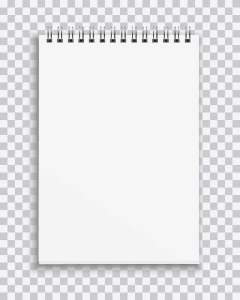 vector realistic blank notebook isolated on transparent background - notatka stock illustrations