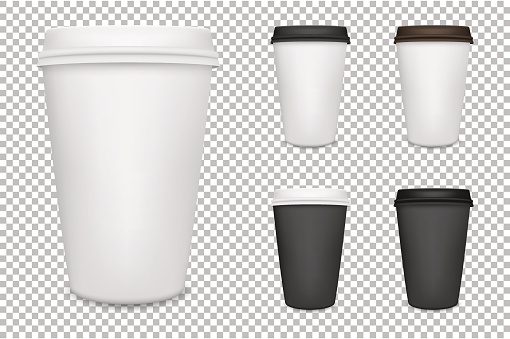 Vector realistic blank paper coffee cup set isolated. Vector EPS10