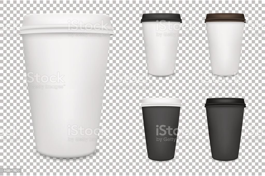 Vector realistic blank paper coffee cup set isolated. Vector EPS10 vector art illustration