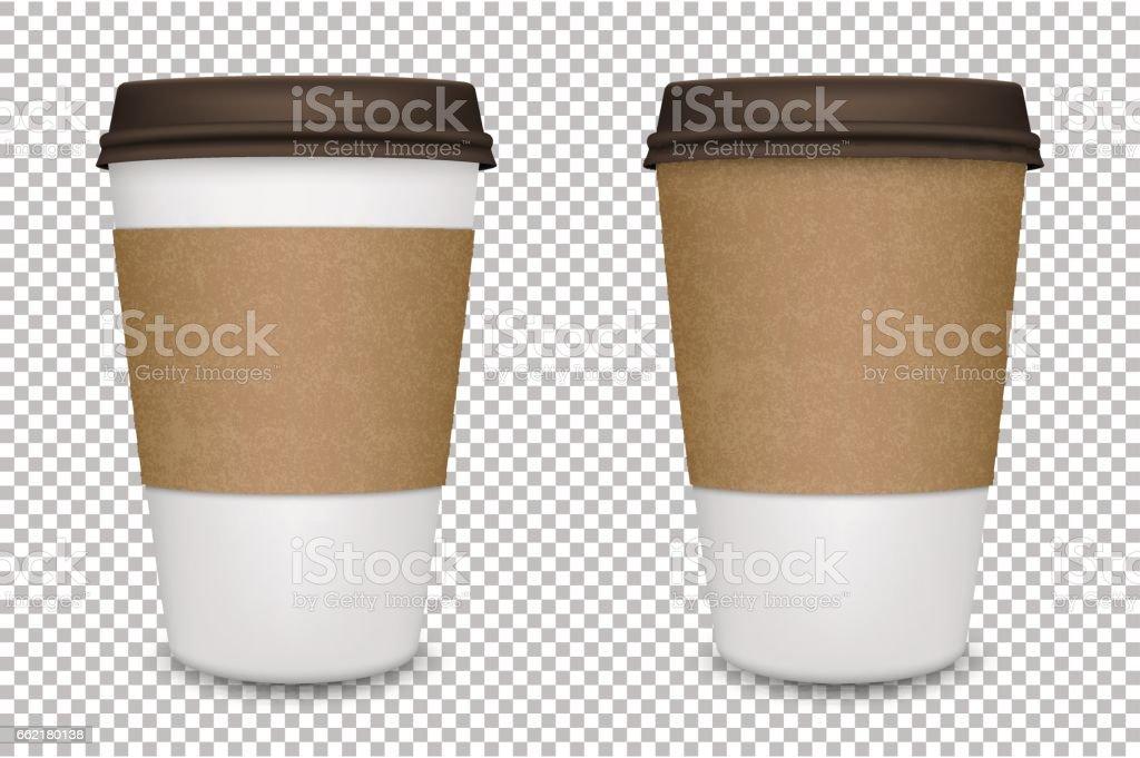 Vector conjunto de taza de café realista de papel en blanco aislado. EPS10 Vector - ilustración de arte vectorial