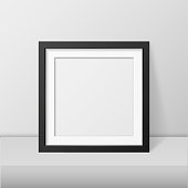 Vector realistic blank picture frame template set isolated. EPS10