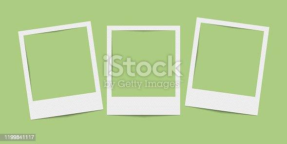istock Vector realistic blank three photo frames 1199841117