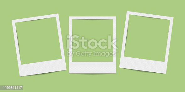 istock Vector realistic blank three photo frames 1199841117