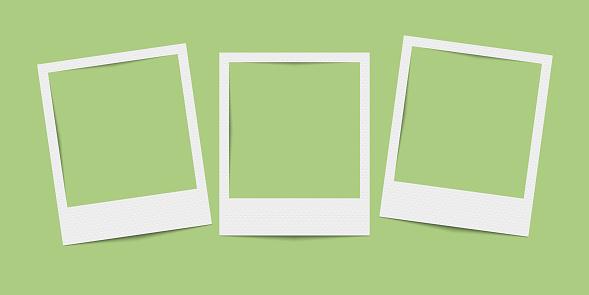 Vector realistic blank three photo frames