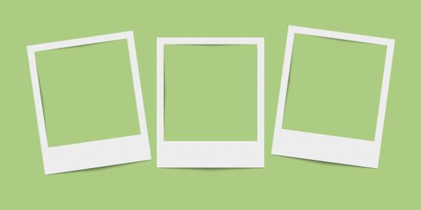 vektor realistische leere drei bilderrahmen - polaroid stock-grafiken, -clipart, -cartoons und -symbole