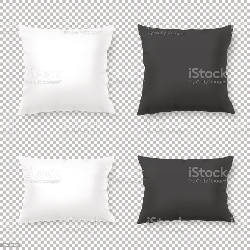 Vector realistic blank white, black square and rectangular pillow or cushion icon set isolated on transparent background. Design template in EPS10 vector art illustration