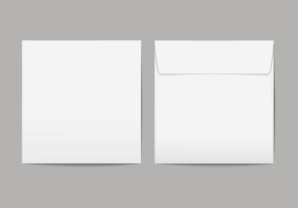 Vector realistic blank white paper square envelope with transparent background Vector realistic blank white paper square envelope with transparent background square composition stock illustrations