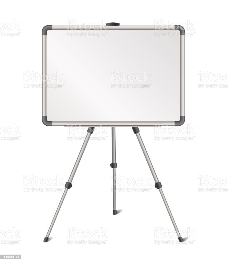 Vector realistic blank whiteboard on tripod stand isolated on white background vector art illustration