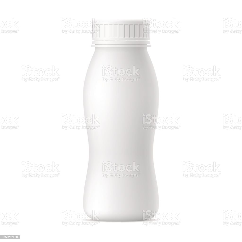 Botella realista vector de yogur. - ilustración de arte vectorial