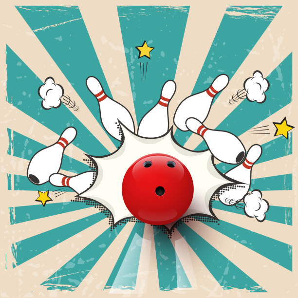 Vector realistic bowling ball on pop art background. Bowling strike. Vector realistic bowling ball on pop art background. Bowling strike. ten pin bowling stock illustrations