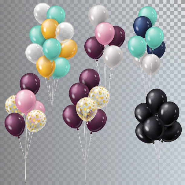 Vector realistic bunch helium balloons isolated. Vector realistic bunch helium balloons isolated. bunch stock illustrations